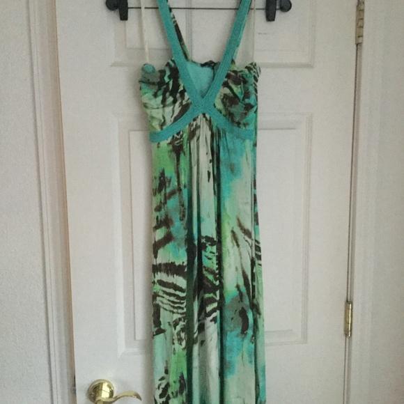 Sky Dresses & Skirts - Sky mint zebra patterned maxi dress